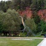 Eines der Saurier-Modelle auf dem Gelände